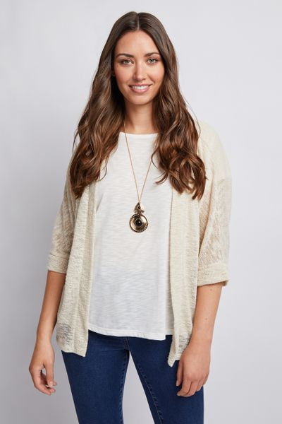 Soft Oatmeal Cardigan Set with Necklace