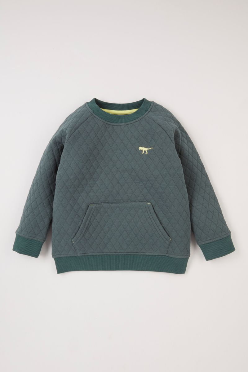 Green Quilted Sweatshirt