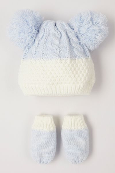Pale Blue Knitted Hat & mittens