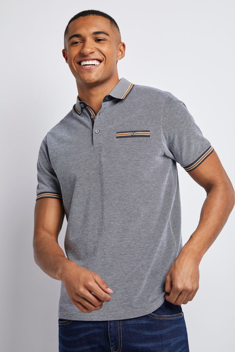 Charcoal Ochre Trim Polo Shirt