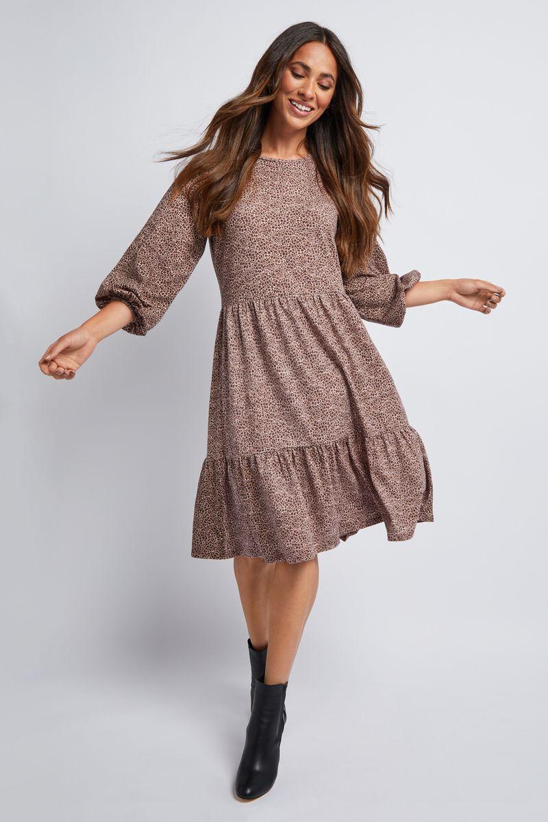 Animal Jersey Tiered Dress