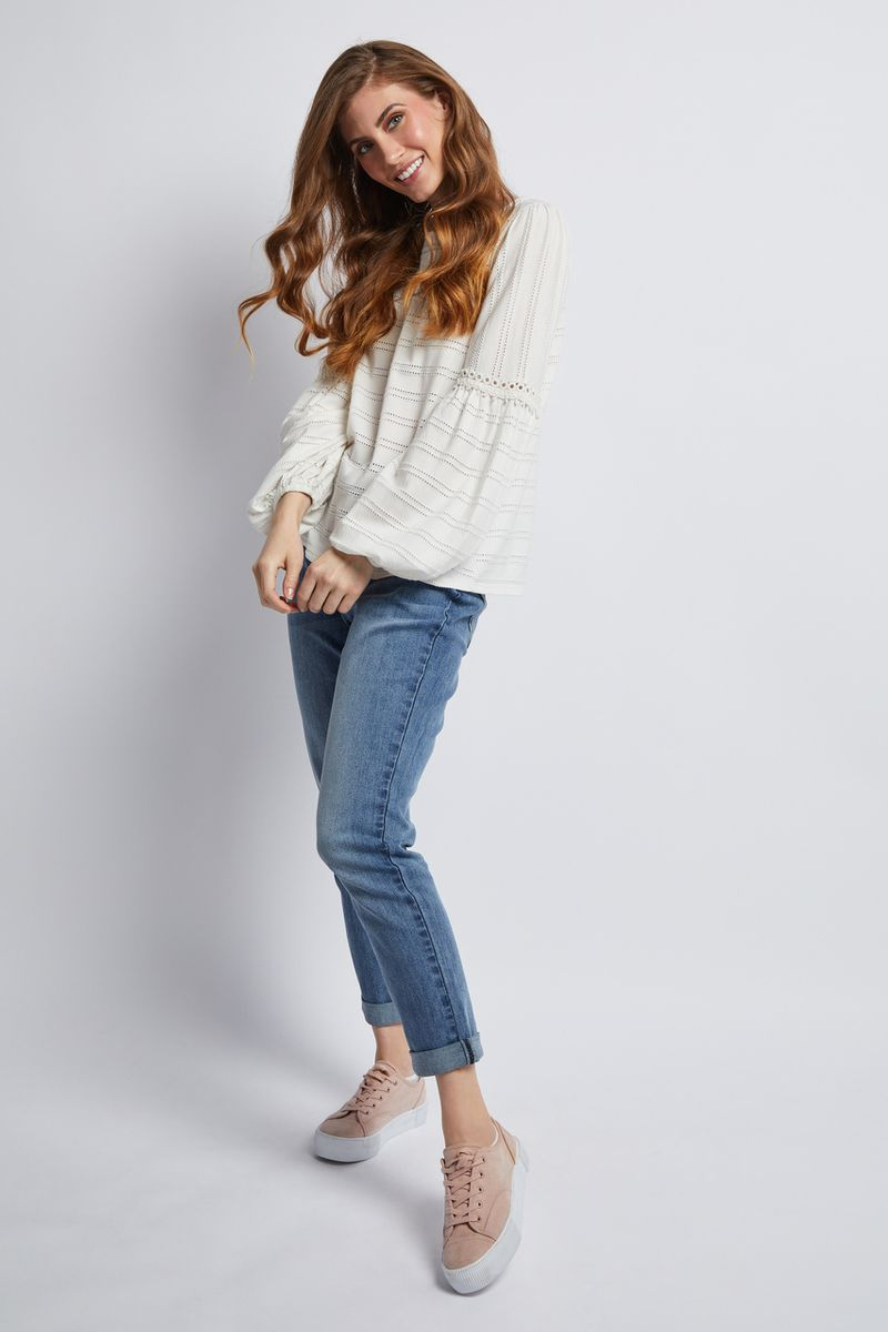 Long Sleeve White Broderie Top