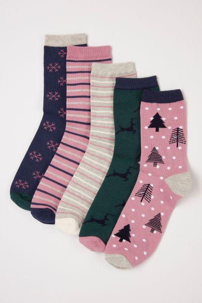 5 Pack Dusky Pink socks