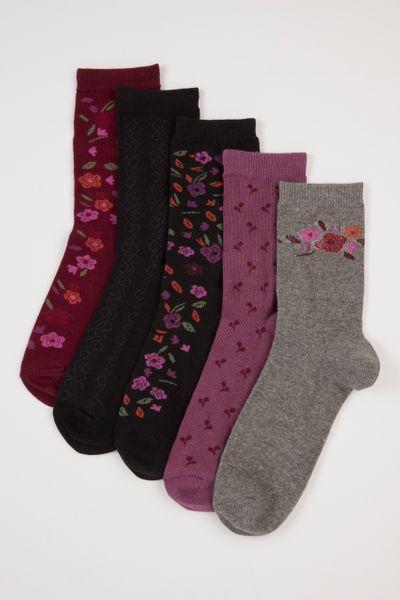 5 Pack Dark Flower socks