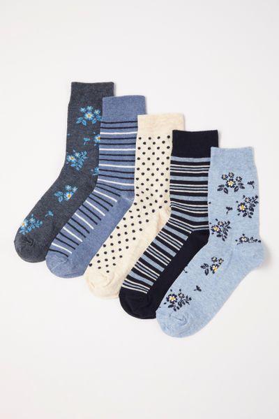 5 Pack Flexitop Flower Socks