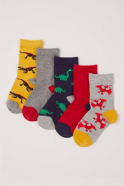 5 Pack Colourful Dino Socks