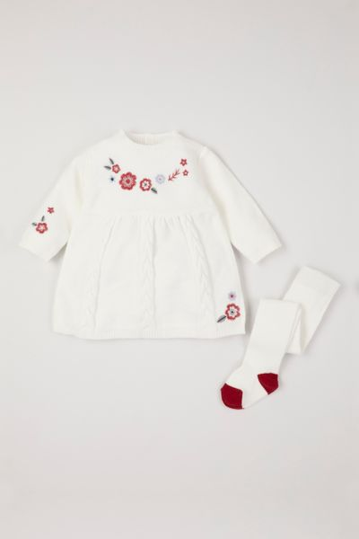 Flower Knitted Dress & Tights