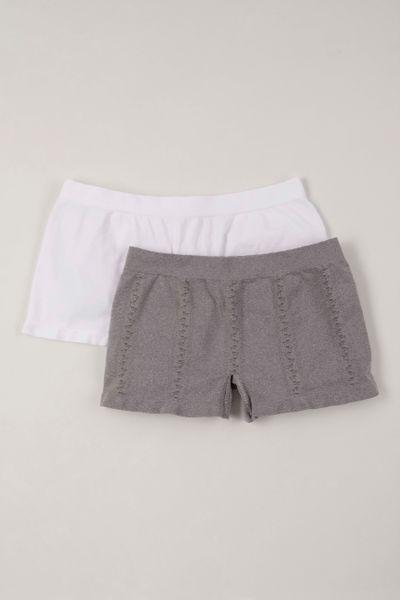 2 Pack Seam Free White Grey Short Briefs