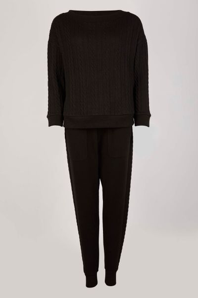 Black Cable Loungewear Set