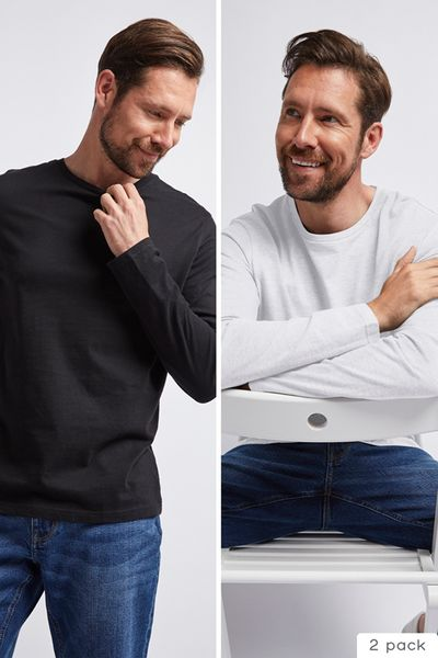 2 Pack Black & White Long Sleeve tops