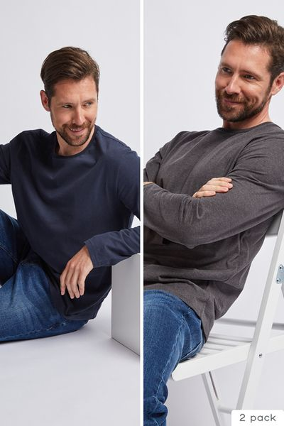 2 Pack Navy & Charcoal Long Sleeve tops