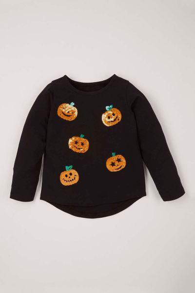 Halloween Sequin Pumpkin T-Shirt