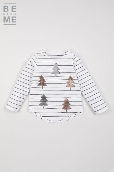 Be Like Me Sequin Christmas Tree T-shirt