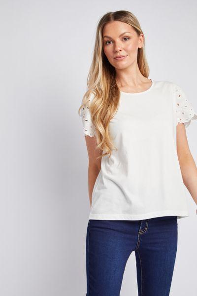 White Broderie Sleeve T-shirt