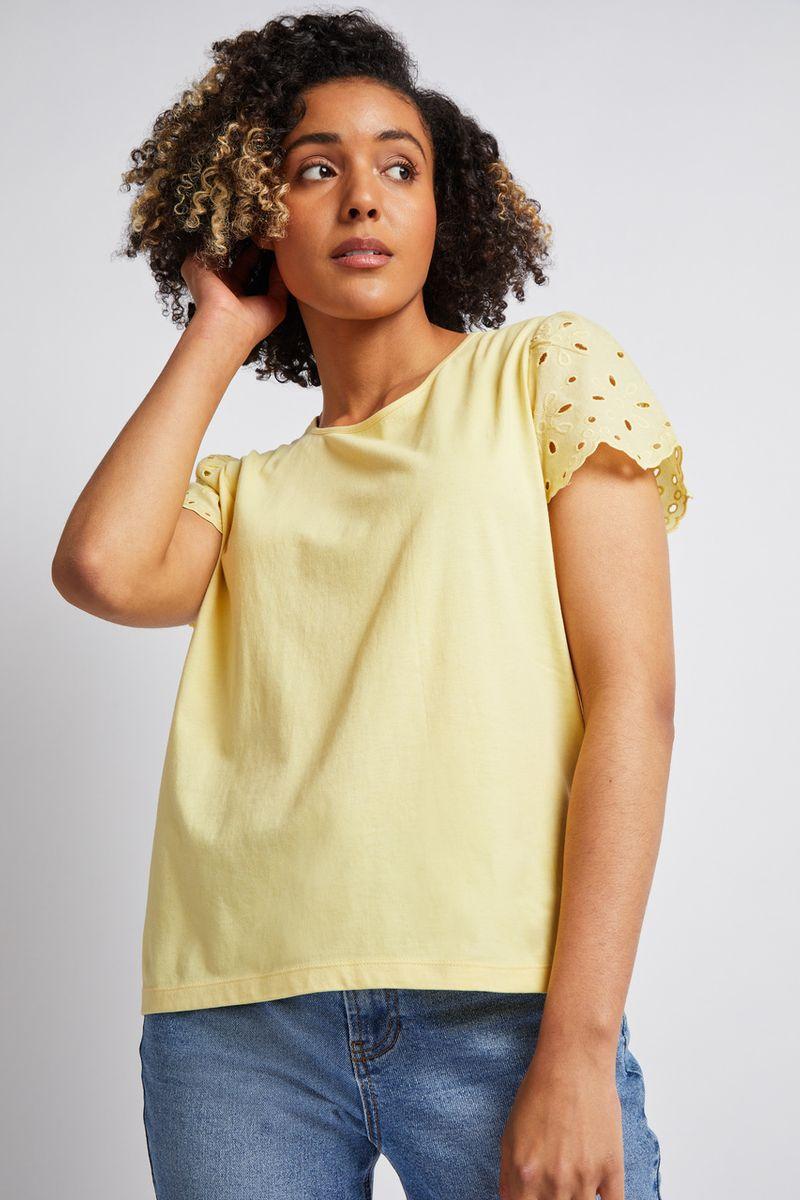 Lemon Broderie Sleeve T-shirt