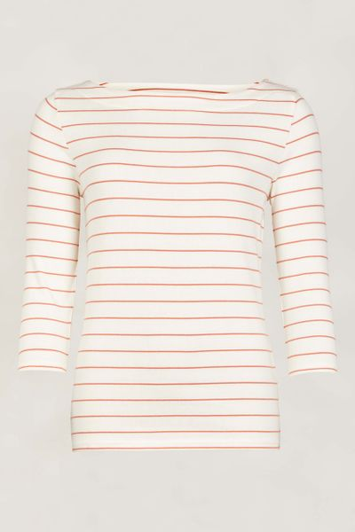 Ecru Stripe 3/4 Sleeve Bardot Top