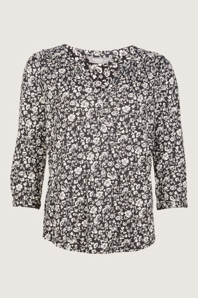 Monochrome Floral Henley T-shirt