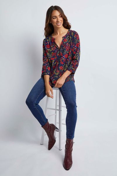 Red Floral Henley Shirt