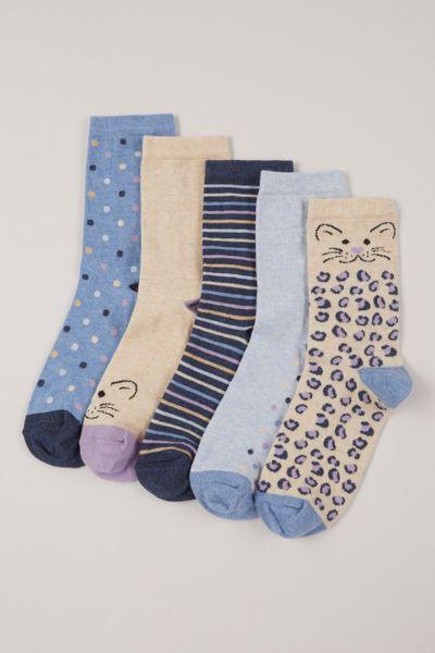 5 Pack Cat Socks