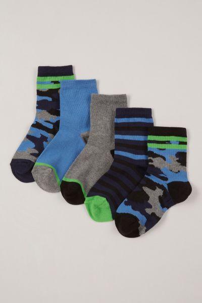 5 Pack Blue Camo Socks
