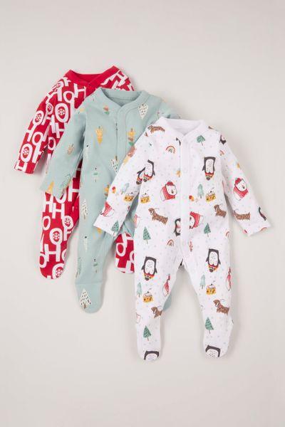 3 Pack Christmas Sleepsuits