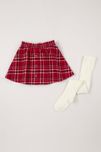 Red Check Skirt with Tights