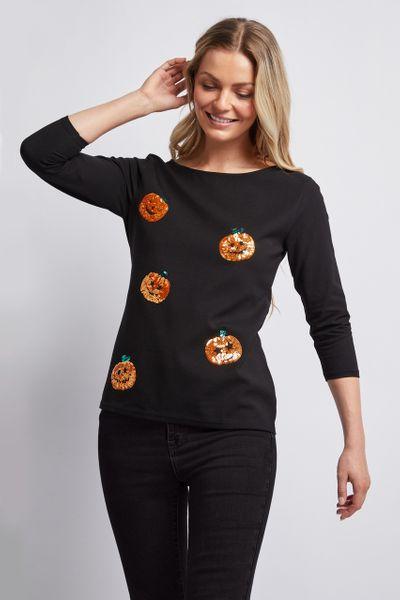 Halloween Sequin Pumpkin Bardot Top