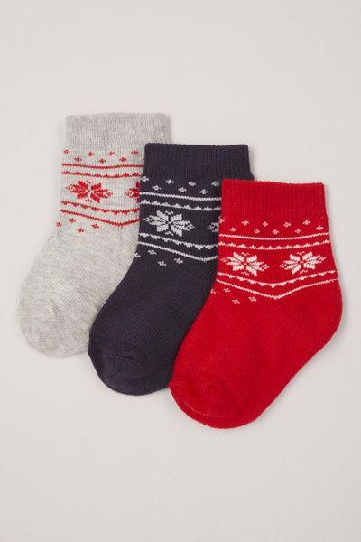 3 Pack Fairisle Pattern Socks