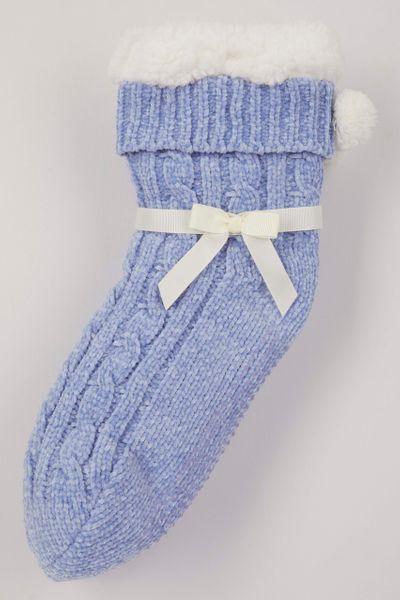 Blue Chenille Lounge Socks