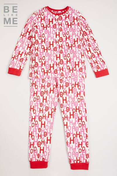 Family Of Christmas Slogan Pink Pyjamas