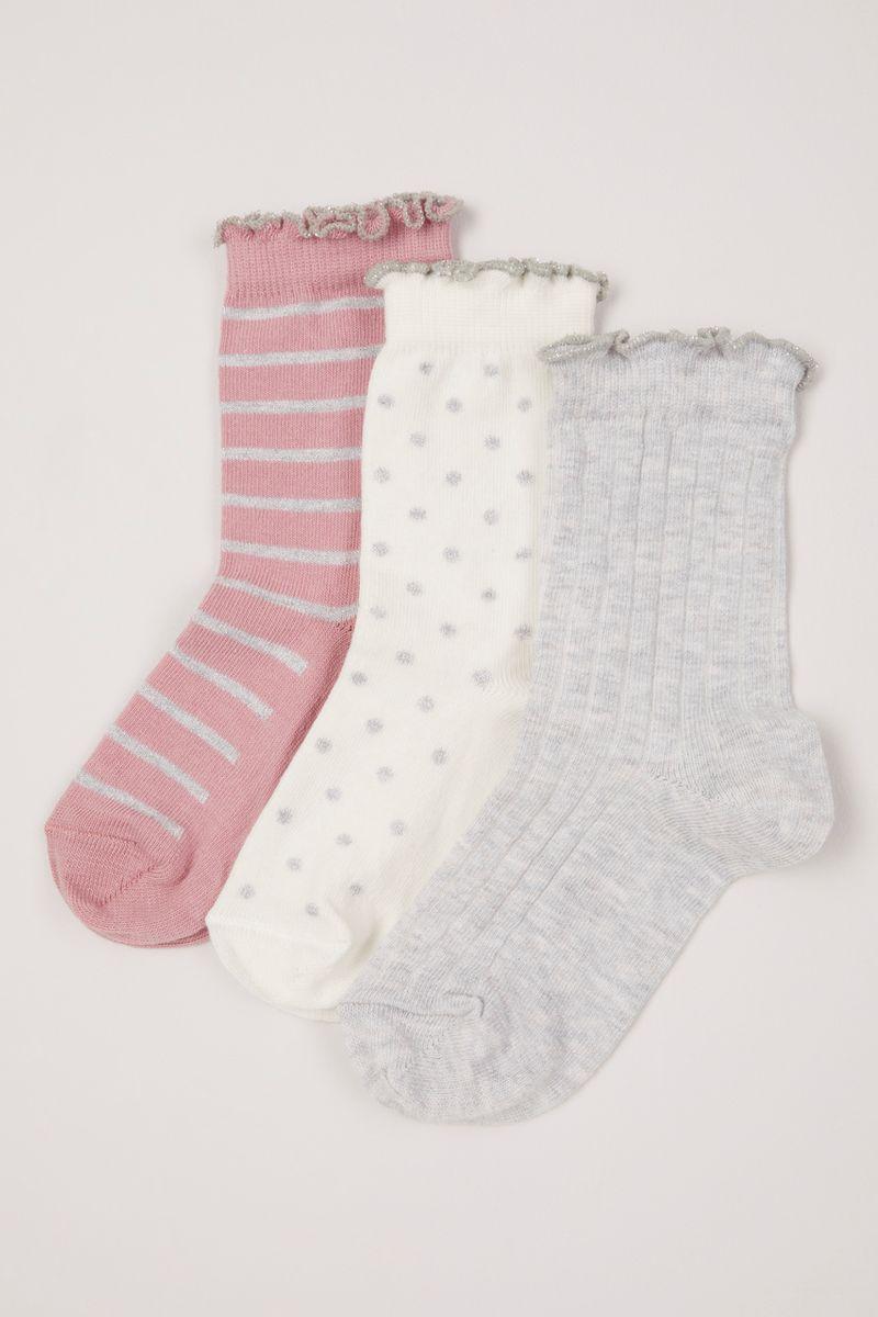 3 Pack Ruffle Top Socks