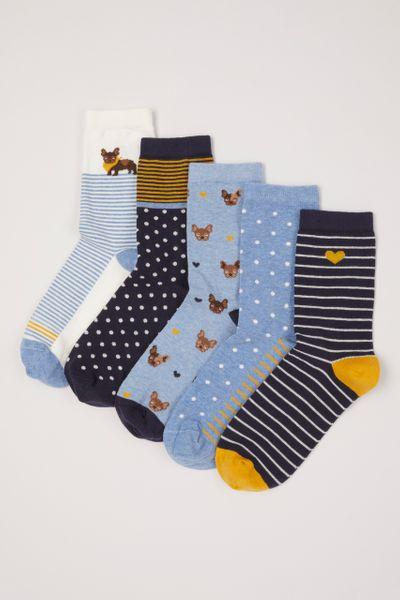 5 Pack Frenchie Socks