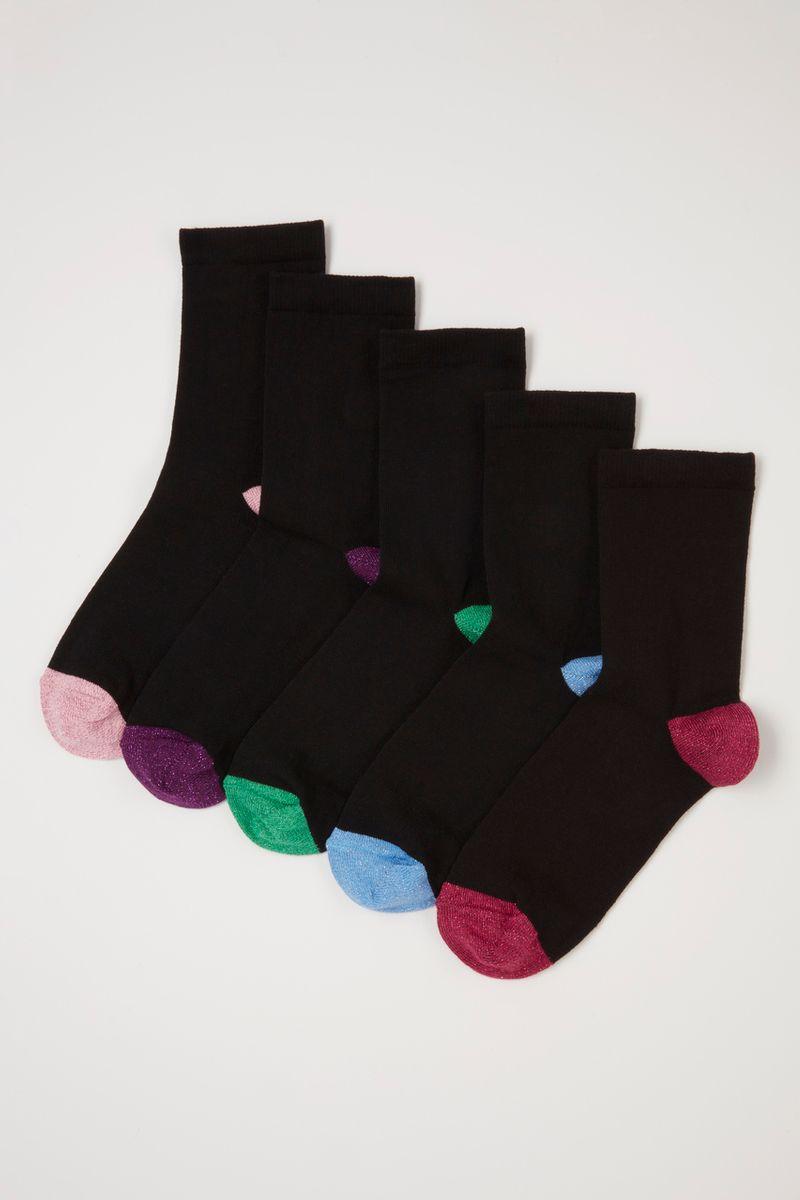 5 Pack Colourful Woven Glitter Socks