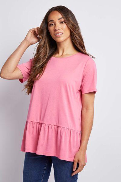 Pink Jersey Peplum T-shirt