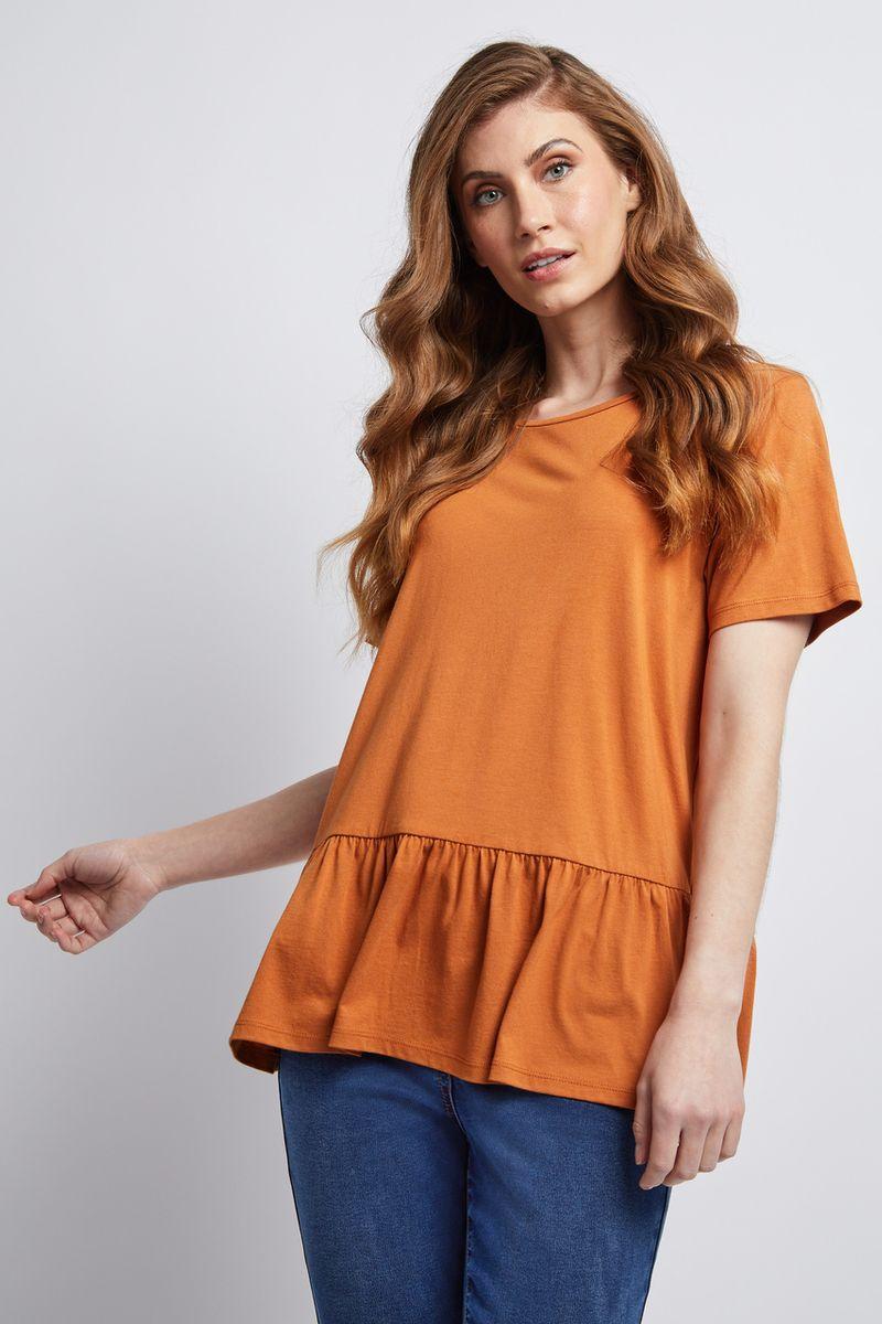 Orange Peplum T-Shirt
