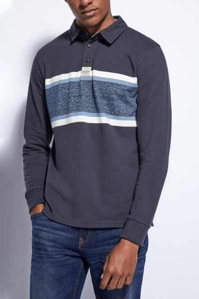Navy Colour Block Rugby Shirt