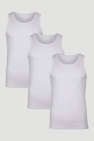 3 Pack White Vests