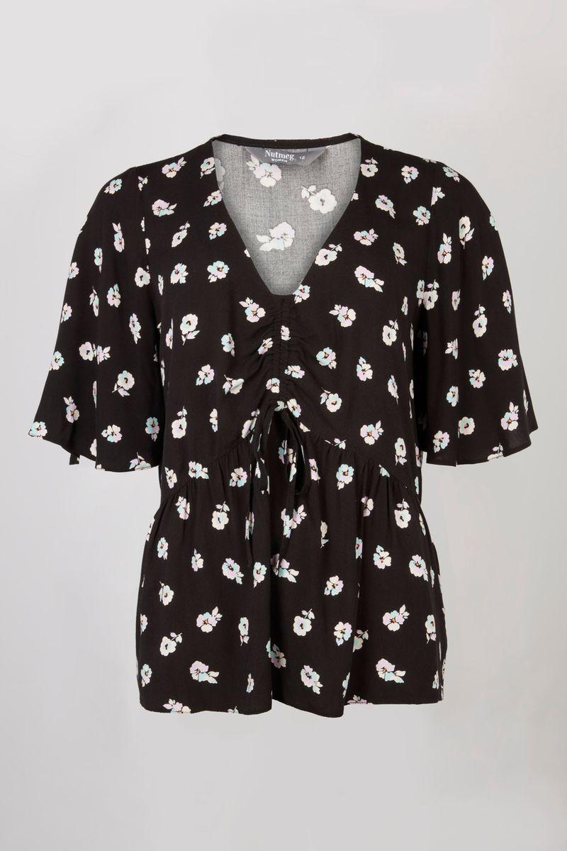Ruched Black Floral Print top