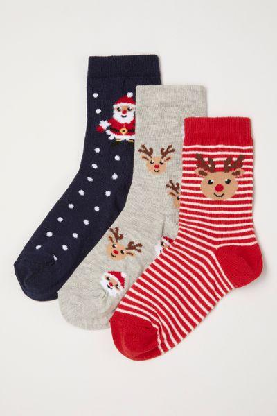 3 pack christmas reindeer santa socks