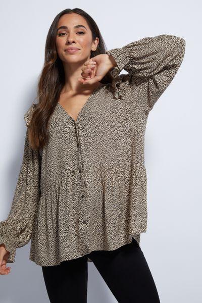 Animal Print Peplum blouse