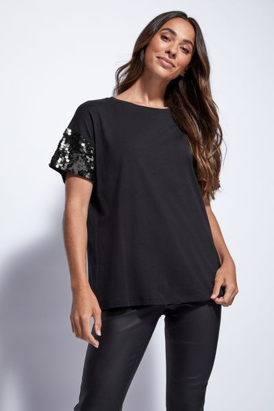 Black Sequin Sleeve top